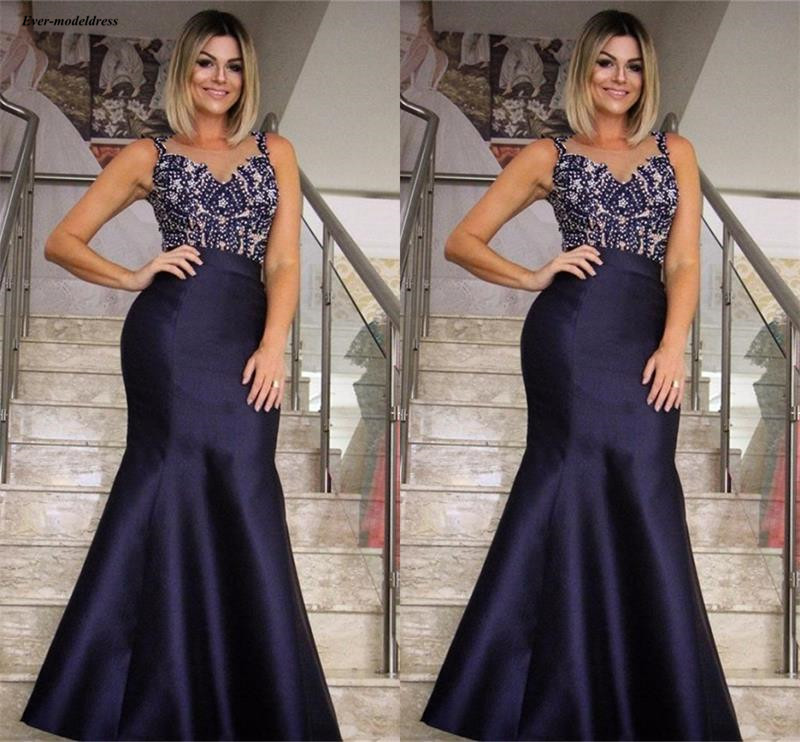 Chic Navy Blue Mermaid   Prom     Dresses   Long Sheer Scoop Appliques Beaded Sleeveless Celebrity Party Gowns Customized Abiye 2019
