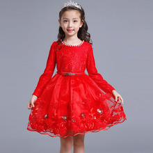 2018 New Dresses For Girls Lace Long Sleeve Children Dress Ball Gown Party Girl Princess Dress 4 6 8 10 12 13 Years Kids Clothes