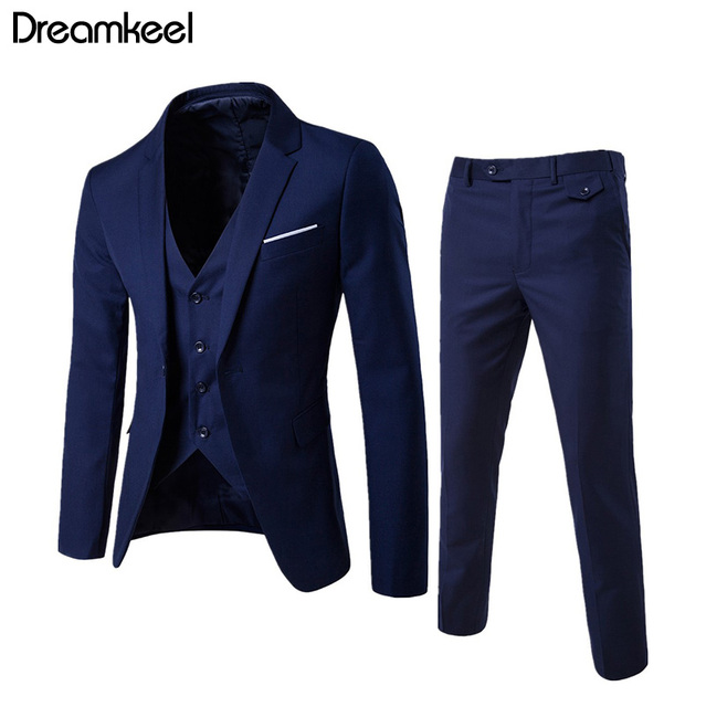 2019 men's fashion Slim suits men's business casual clothing groomsman suit Blazers jacket pants trousers vest sets 3 piece Y