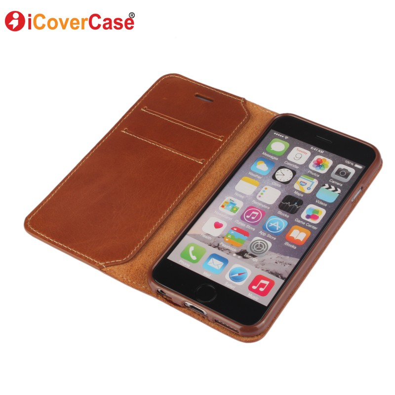 Genuine Leather Case for iPhone 6s Cover Wallet Coque for iPhone 5 5S SE 6 6S
