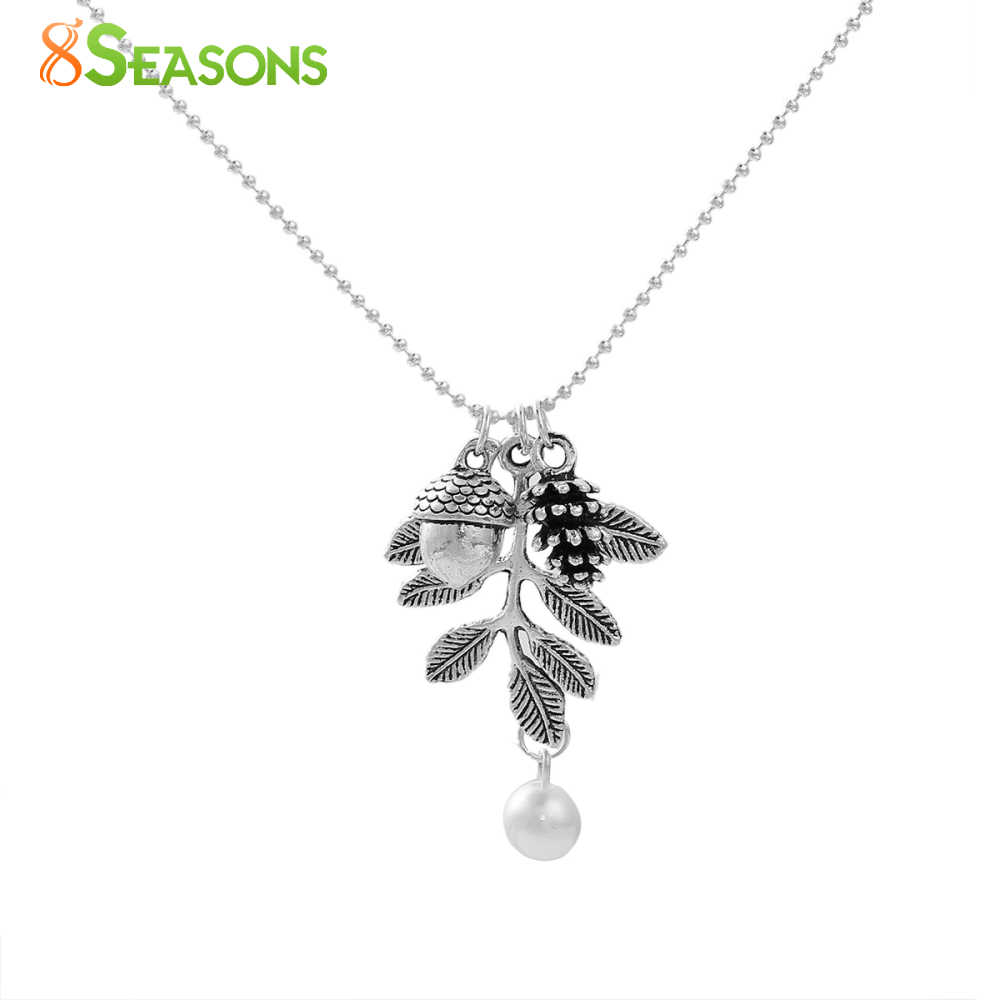 "8SEASONS Handmade Necklace antique silver-color Pine Cone Acorn Leaf White Imitation Pearl 47.5cm(18 6/8"") long, 1 Piece"