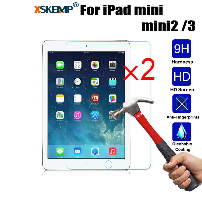XSKEMP 2PcsLot 9H Tempered Glass For Apple iPad mini 2 3 79 inch Screen Protector Hard Cover Tablet Real Tempered Glass Film