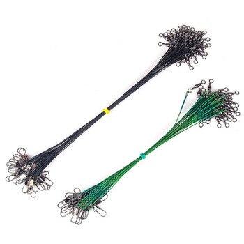 10 unids/lote Anti-mordida correa de pesca Línea alámbrica señuelo Fishhook línea Trace Wire Leader alambre trenzado giratorio Acero inoxidable Rolling