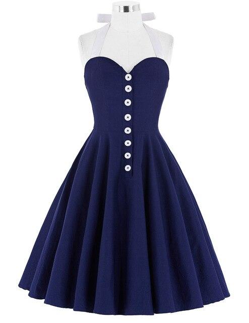 2016 Women Dress Robe Sexy Halter Retro Vintage Black Navy Blue Red Summer Dress Tunic Casual 50s 60s Rockabilly Party Dress