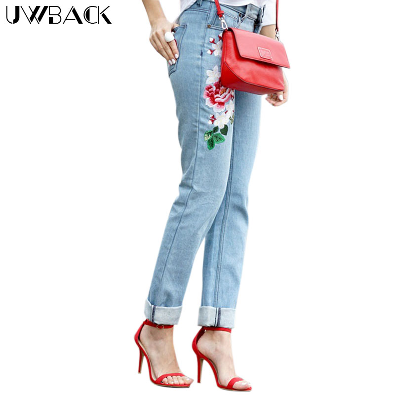 Uwback Mom Embroidered Jeans Woman 2017 New Brand Spring Straight Jeans font b Women b font