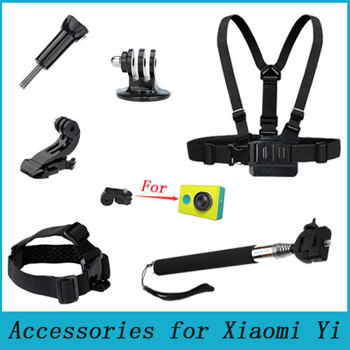 For Xiaomi Yi Gopro Action Camera Accessories Set Chest Belt Head Mount Strap Monopod For Xiaoyi SJCAM SJ4000 For Go pro