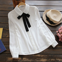 Sweet Peter Pan Collar Mori Girl Blouse Long Sleeve White Shirt For Women