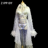 Multicolor Big Rhinestones Feather Bra Short Mesh Long Tail Outfit Set Women's Birthday Party Wear Female Singer Show Costume