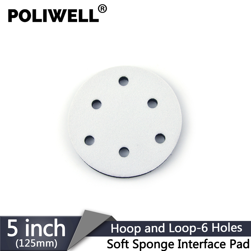 POLIWELL 5 Inch 6-Hole Soft Sponge Interface Pad For Sanding Disc Hook & Loop Backing Pads Abrasive Pad Power Tools Accessory