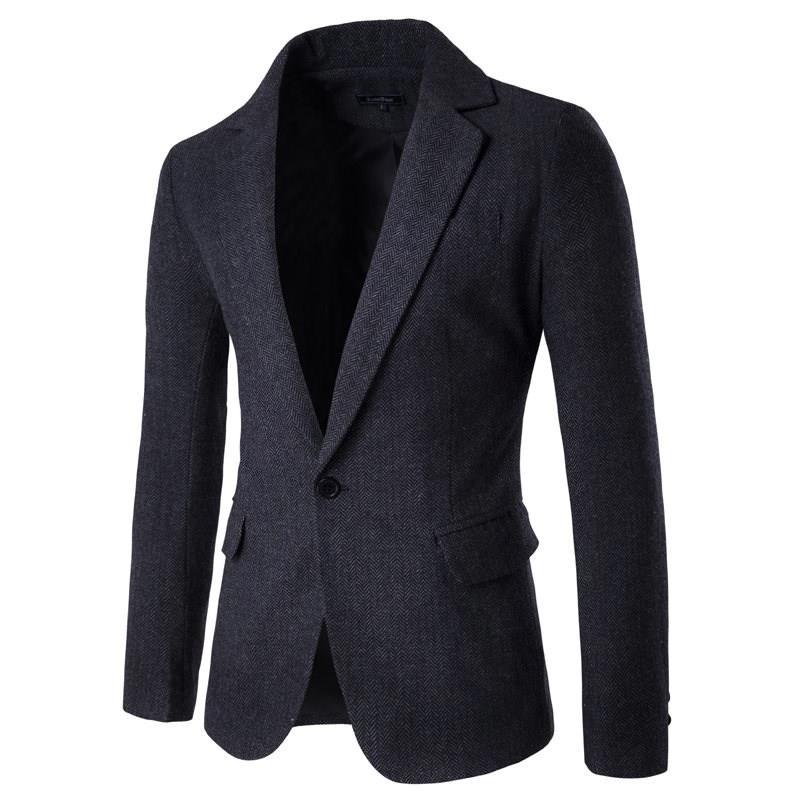 Fashion Blazer Mens Casual Jacket New Arrival Warm Solid Color Cotton Men Blazer Clothes Men Classic Suit Top Coats Hot Sale