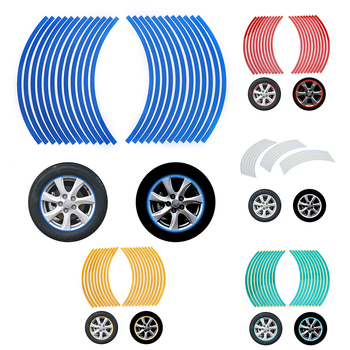 20pcs/set Strips Wheel Stickers And Decals Reflective Rim Tape Bike Motorcycle Car Tape 5 Colors Car Styling Rim Stripes Sticker image