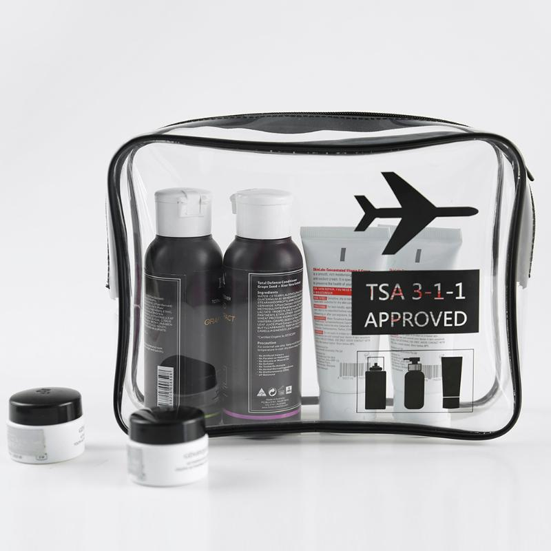 TSA-approved clear-plastic toiletry bag