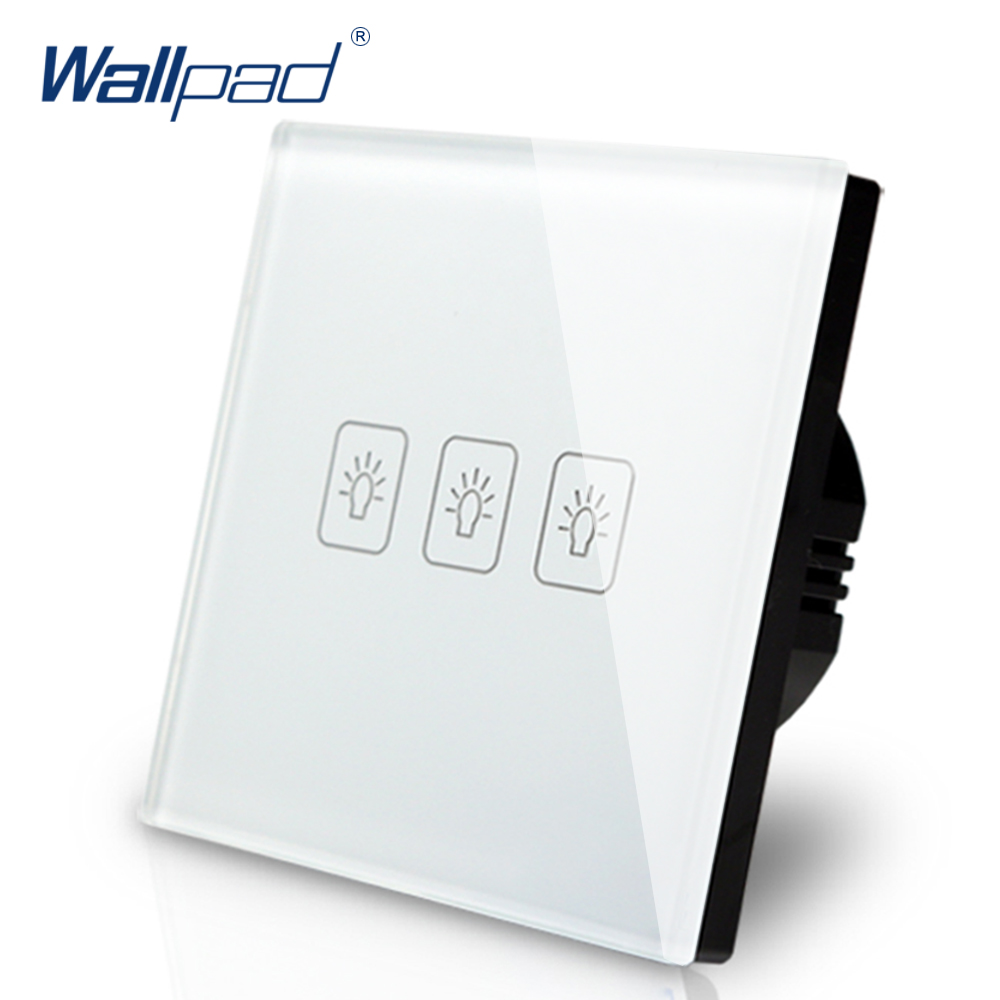 Hot 3 Gang 1 Way EU Touch Switch LED 110V-240V Wallpad White Temepred Glass Wall Touch Switch Panel EU 3 Gang Free Shipping 10a universal socket and 3 gang 1 way switch wallpad 146 86mm white crystal glass 3 push button switch and socket free shipping