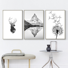 Mountain Poster Black And White Pictures Dandelion Posters Prints Abstract Painting Wall Art Canvas Quadro Unframed