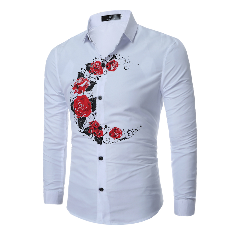 02399e50b4fd US $13.14 35% OFF|Aliexpress.com : Buy 2108 New Arrival Fashion Rose Floral  Print Men Dress Long Sleeve shirts Moon Pattern casual mens shirt Tops for  ...