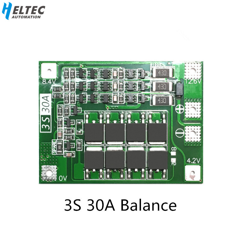 3S 30A BMS Board Balance current 11.1V 12.6V 18650 Lithium Battery Protection Board with equalization Drive drill 30A current image