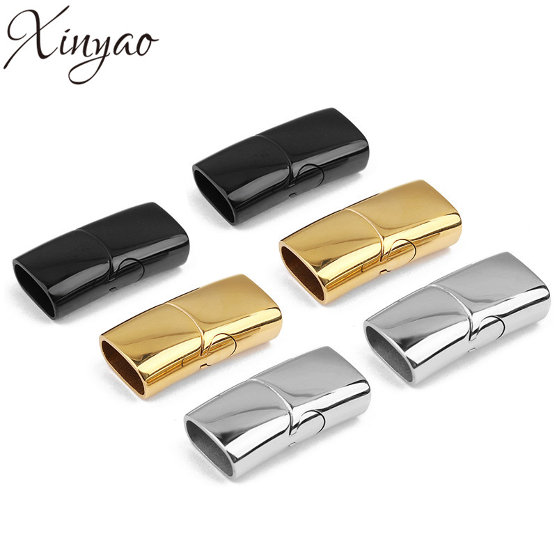 XINYAO 1set Stainless Steel Strong Magnetic Clasps Fit 10x5mm Leather Cord Bracelet Metal End Connectors For DIY Jewelry Making basehome stainless steel magnetic clasps metal connector fit 8x3 10x3 15x3mm flat leather cord bracelets findings diy jewelry