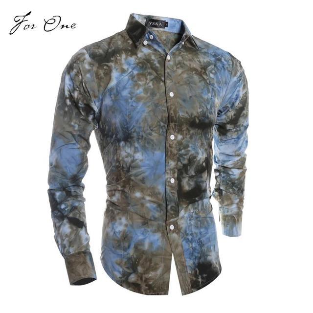 033df01722 Camisa para hombre 2016 Camisas moda flor de manga larga Camisetas nueva  marca Chemise Homme hombres
