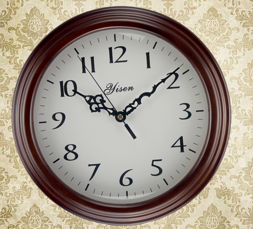 Genuine European quality fashion wall clock creative living room bedroom brown wood round environmentally friendly - Xun Mai Xi Store store