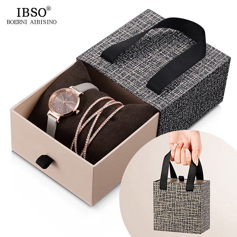 IBSO Women Leather Watch Set Rose Gold  Crystal Bangle Jewelry Watches Xmas Gift Box For Women Jewelry Watch Set