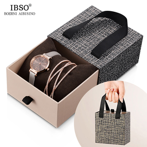 Image 1 - IBSO Women Leather Watch Set Rose Gold  Crystal Bangle Jewelry Watches Xmas Gift Box for Women Jewelry Watch Set