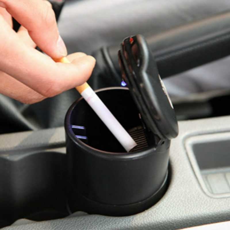 Luxury Car Ashtray with LED Light Cigarette Smoke Travel Remover Ash Cylinder Car Smokeless Smoke Cup Holder Car Auto Ashtray