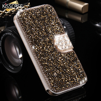 FLOVEME Diamond Phone Cases For Samsung Galaxy S7 Edge Luxury Leather Bling Glitter Stand Wallet Cover