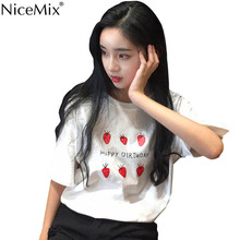 NiceMix Kawaii T Shirt 2019 Summer Women Tops Harajuku T-shirts Print Strawberry Loose Plus Size Birthday Tee Femme