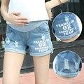 Y623 # Impresa Letra Agujero Enrollar Pantalones Cortos de Mezclilla de Maternidad Pantalones Vaqueros 2017 Ropa para El Embarazo Las Mujeres Embarazadas Pantalones Cortos de Moda de Verano
