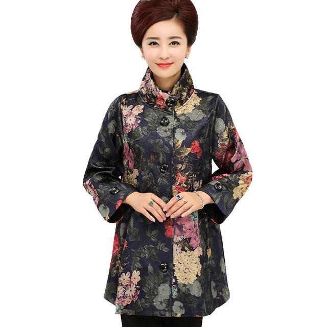 New Arrivals Marca de Roupas casaco outerwear outono Mãe das Mulheres Estampas de Flores Mulheres Plus Size Casaco Corta-vento Ocasional Solto