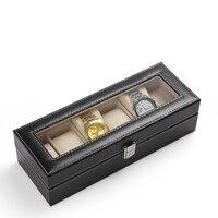2017 Klasyczne 6 Siatka Sloty Zegarki Gift Pola Casket Zegarek Nawijacz przypadku Wyrafinowanie Wyświetlacz Biżuteria Skórzana Bagażu Holder
