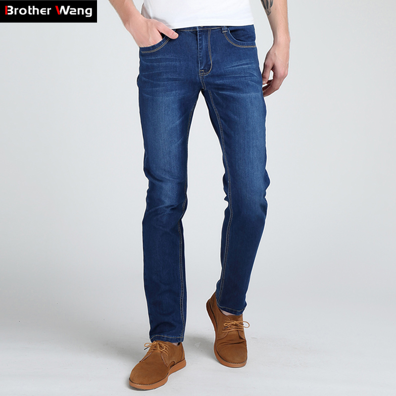 Brother Wang Men's Slim   Jeans   Fashion High Elastic MaleTighten Solid Brand Casual Skinny   Jeans