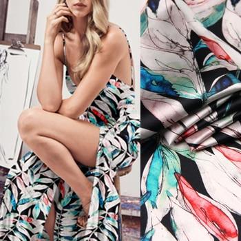 118CM Wide 19MM 93% Silk & 7% Spandex Blue Green Leaves Print Stretch Silk Satin Fabric for Dress Cheongsam D990