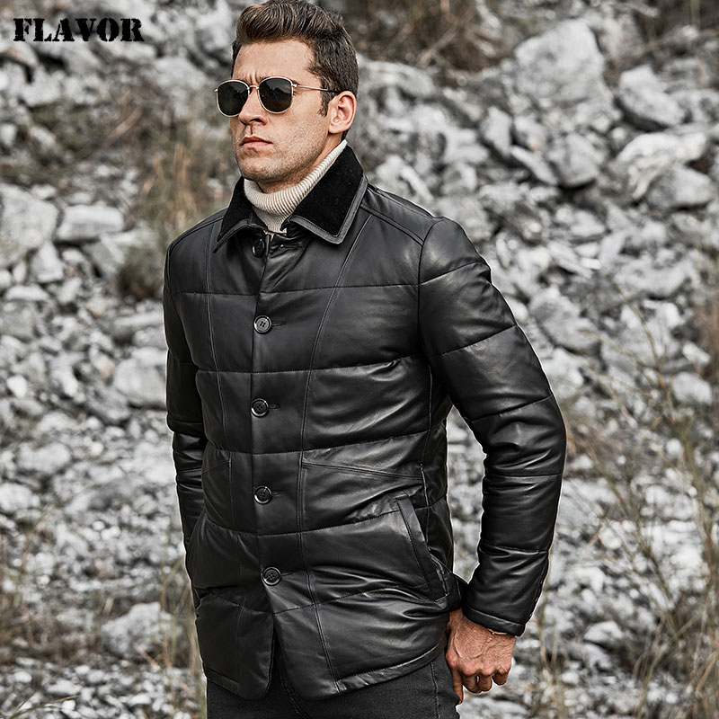 Image 4 - FLAVOR Men's Real Leather Down Jacket Men Genuine Lambskin Winter Warm Leather Coat with Turn down Sheep Fur Collar-in Genuine Leather Coats from Men's Clothing