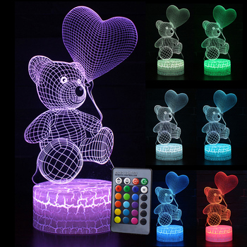 Remote & Touch Control  Home decoration Color Change LED Table Desk Lamp Kids Xmas Gift Bear Night light 3D LED Night Light D30 table decor color change best gift led night light