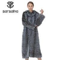 SARSALLYA Long Genuine Fox Fur Coat Winter Coat Real Silver Fox Vest Women Clothing Mink Coat Natural Fox Fur Vests Of Wome