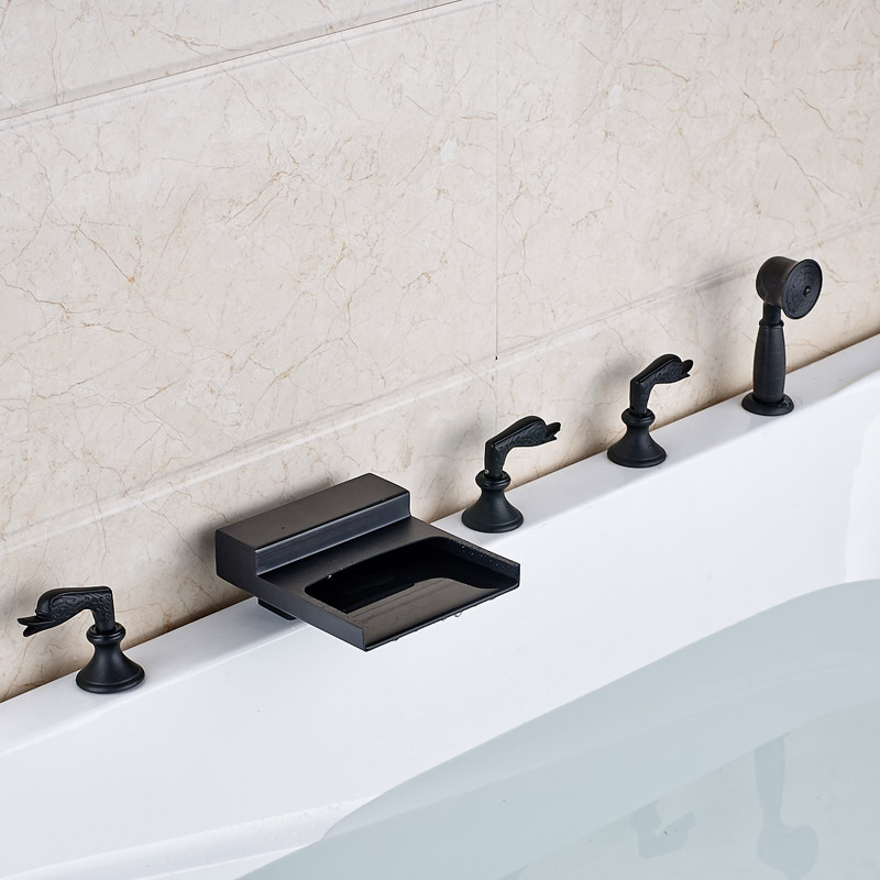 Luxury Oil Rubbed Bronze Widespread Bathtub Faucet Deck Mounted Waterfall Roman Tub Filler with Handshower