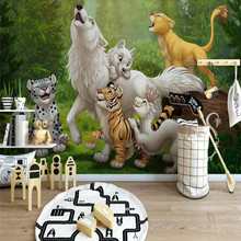 Nordic wallpaper cartoon small animal children bedroom background wall high-grade waterproof material