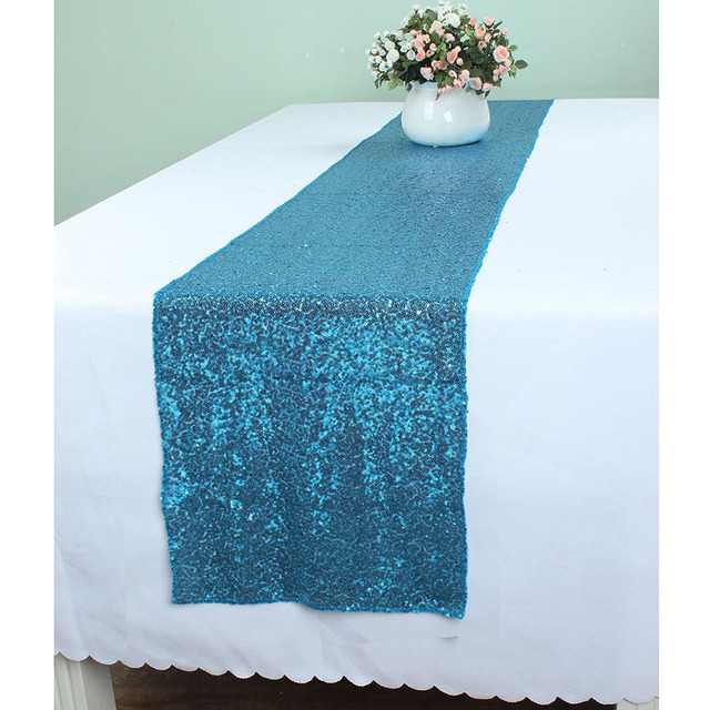 30 X 240 Cm Teal Blue Glitz Sequin Table Runners For Wedding Event Party Banquet