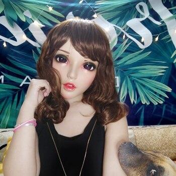 (Fu-05) mujer chica dulce resina media cabeza máscara de kigurumi con BJD ojos Cosplay Anime japonés papel máscara de Lolita Crossdress muñeca