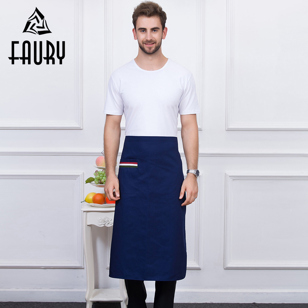 5 Color Unisex Pocket Apron Stitching Color Chef Kitchen Working Wear Home Cooking Clothes Restaurant Food Service Uniform Apron