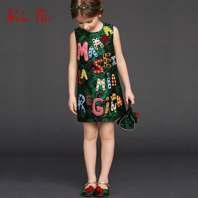 Summer Kids Girls Baby O-Neck Sleeveless Dress 3-8T Children Flower Floral Appliques Letter Clothing Toddler Princess Clothes