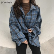 Shirts Women Chic Plaid Long Sleeve Single Breasted Students Womens All-match Re
