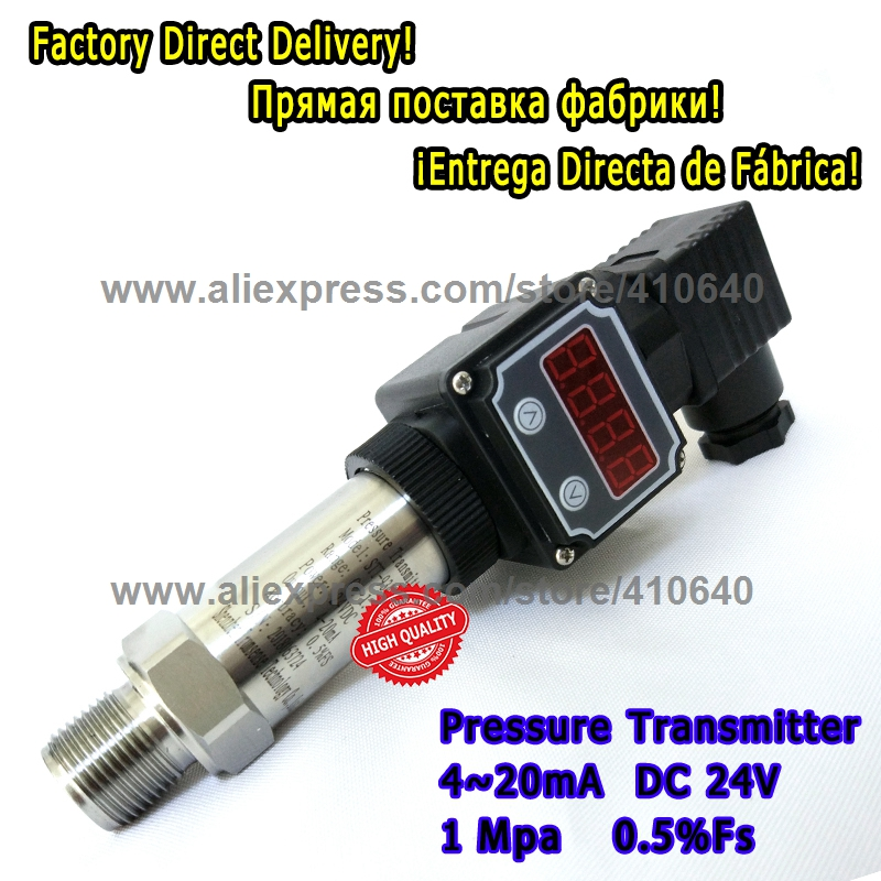 LED Diffused Silicon Digital Display Pressure Transducer 4 to 20mA DC24V M20x1 5 1 0Mpa 0