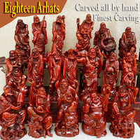 Eighteen Arhats collections Authentic Natural Wild Lobular Red Sandalwood of india wood buddha for buddhism temple home pray