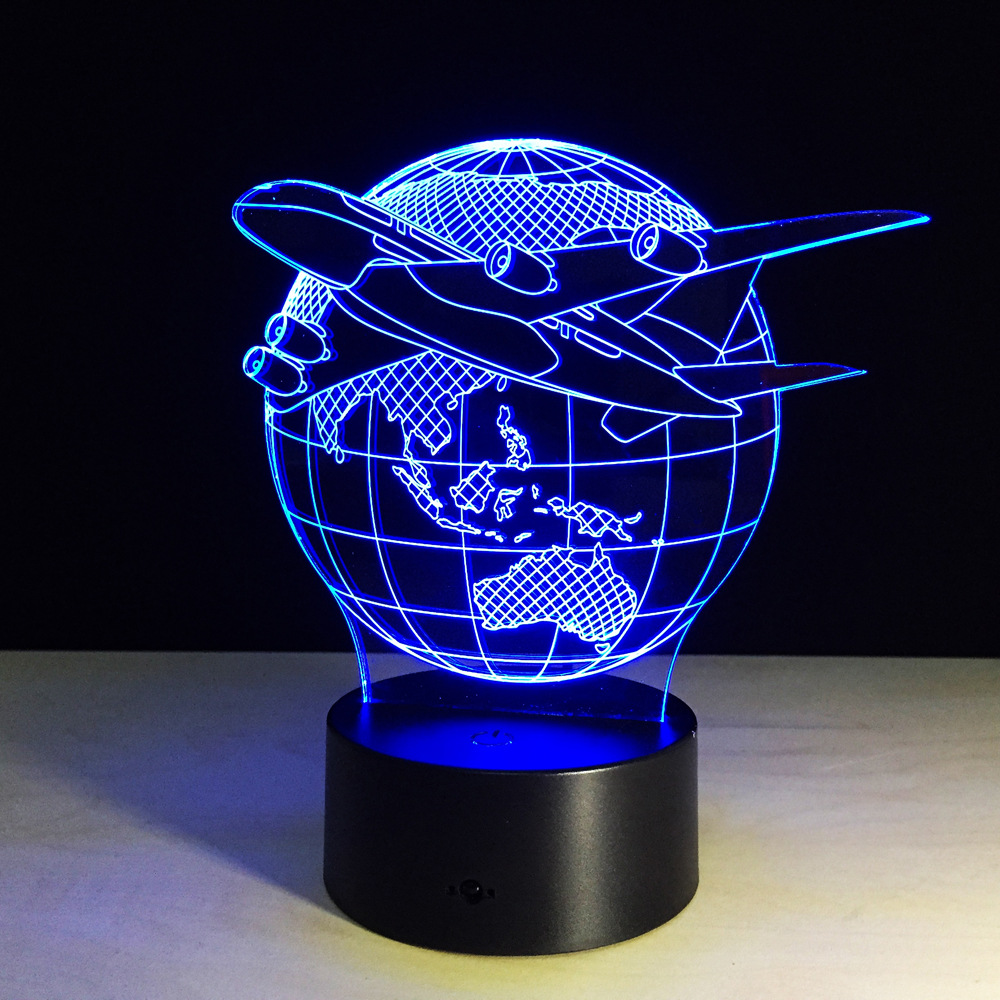 7 Colors Changing Touch Adjustable USB Home Lighting Aircraft Globe Earth 3D Night Light Table Lamp Bedroom Led Light P20
