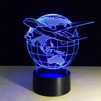 7 Farben Ändern Touch Einstellbare USB Hause Beleuchtung Flugzeug Globus Erde 3D Nachtlicht Tischlampe Schlafzimmer Led-Licht P20