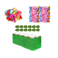 Luau Grass Hula Flower Table Skirt Tableware Table Dress Hawaii Dance Party Supplies Set 24 Flowers 1 Grass Table Skirt 50 Leis