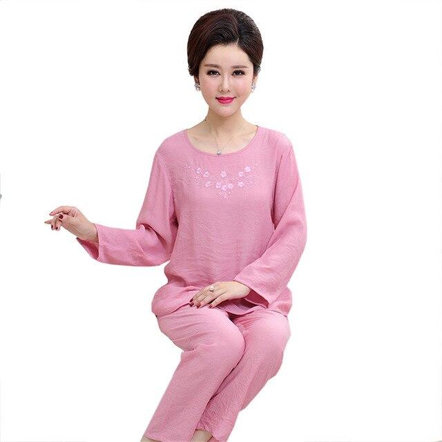 Embroidery Pink Lady Cotton Linen Pajamas Set Women 2PCS Casual Sleepwear  Long Sleeve Shirt Full Pant Nightwear Pyjama M-2XL 1f143cdbcf