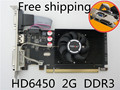 Бесплатная Доставка 100% Новое ATI HD6450 2 Г 2048 м DDR3 половинной высоты видеокарта vga карта нож